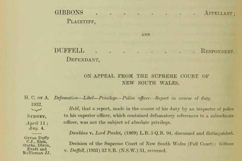 Excerpt of the Gibbons vs Duffell case circa 1932