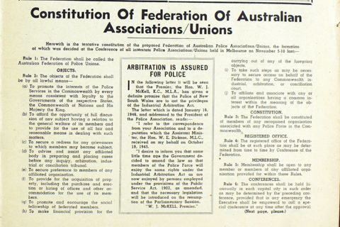 PANSW Magazine circa 1946 included a proposed copy of the Constituation for the newly formed Austalian Federation of Police Unions