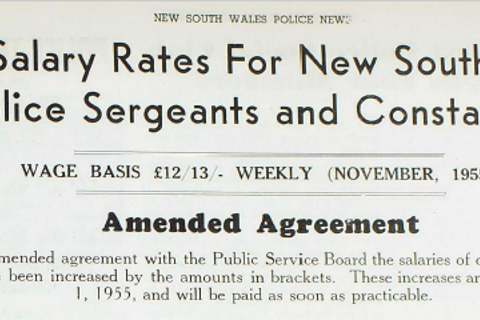 The December Edition PANSW Magazine 1955 notes new pay rates for NSW Police officers