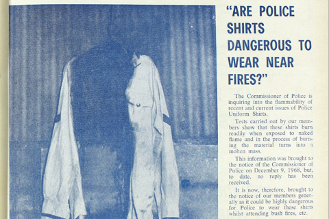 Front Cover of 1969 February Edition of Police News shows flamability of uniforms