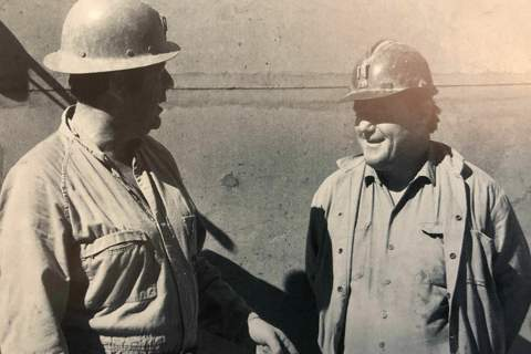 General Secretary Bob Page and President Bob McClelland inspect the mines on a union visit to Broken Hill