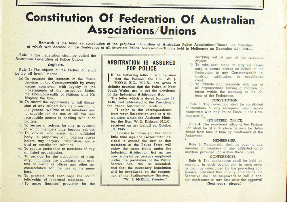 Constitution of the Police Federation of Australia circa 1945